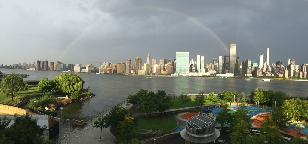 A rainbow over rainbow park this morning.  I ordered it up just for the children of LIC - thanks to Summer N.