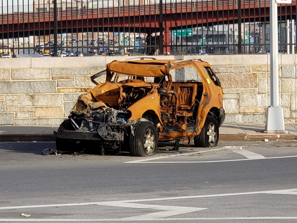 Long Island City wrecked car